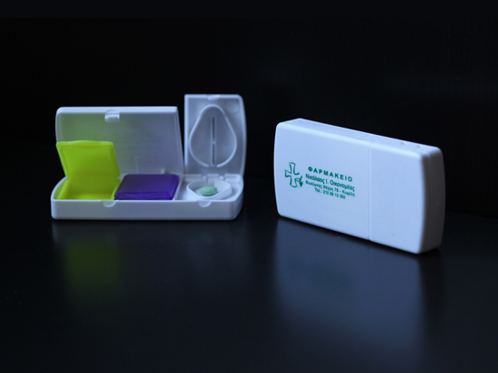 Promotional pill box for pharmacies