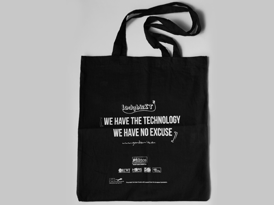 "Fabric bag with monochrome printing for the promotion of the European Commission's project ""ladybizIT: Women Entrepreneurship on the verge of ICT"""