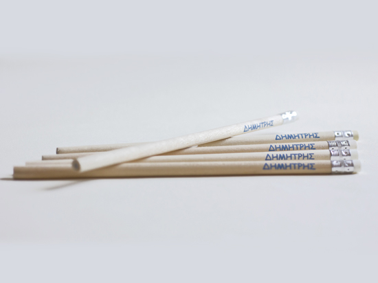 Wooden pencils with monochrome printing
